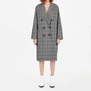 Zara oversized double breasted checkered jacket